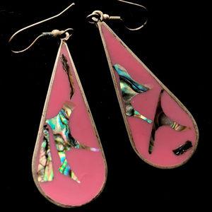 "Alpaca Mexico Abalone large Earrings Pierced 2.75"""